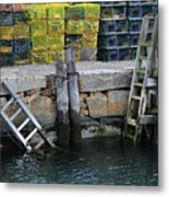 Two Ladders At High Tide Metal Print