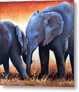 Two Little Elephants Metal Print