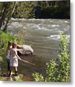 Two Little Girls Playing By The River Metal Print