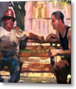 Two Men On A Bench Metal Print
