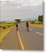 Two Men Riding Bicycle In Tanzania Metal Print