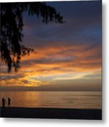 Two Men Walking On Sunset Metal Print