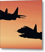 Two Migs At Sunset Metal Print
