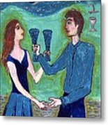 Two Of Cups Illustrated Metal Print