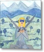 Two Of Swords Illustrated Metal Print