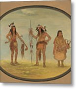 Two Ojibbeway Warriors And A Woman Metal Print