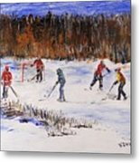 Two On Two On The Frozen Pond Metal Print