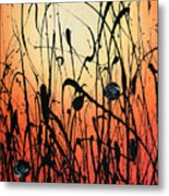 Two Orbs Meet In A Field At Sunset Metal Print