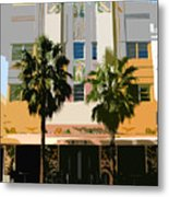 Two Palms Art Deco Building Metal Print