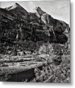 Two Peaks - Bw Metal Print