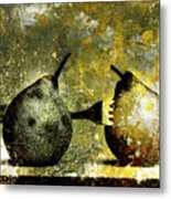 Two Pears Pierced By A Fork. Metal Print