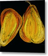 Two Pears - Yellow Gold Fruit Food Art Metal Print by Sharon Cummings