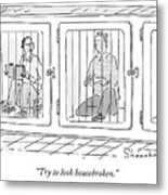 Two Prisoners Sit In Separate Dog Kennel Cells Metal Print