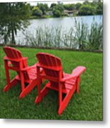 Two Red Chairs Overlooking Lake Formosa Metal Print