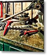 Two Red Wrenches On Plumber's Workbench Metal Print