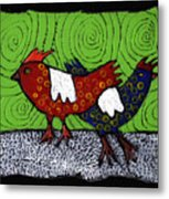 Two Roosters Metal Print
