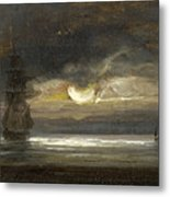 Two Sailing Boats By Moonlight Metal Print