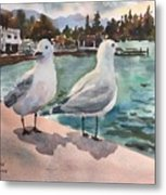 Two Seagulls By The Sea Metal Print