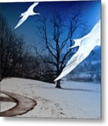 Two Seagulls Fly Together In The Clear Blue Sky Metal Print by Fernando Cruz