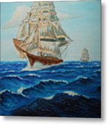 Two Ships Sailing Metal Print