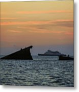 Two Ships Sunset Beach Cape May Nj Metal Print