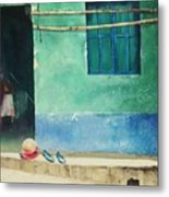 Two Shoes And A Melon Metal Print by Elizabeth Carr