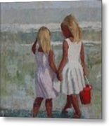 Two Sisters And Red Bucket Metal Print
