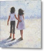 Two Sisters Walking Beach Metal Print