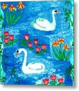 Two Swans Metal Print by Sushila Burgess