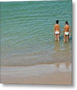 Two Teenage Girls Bathing At The Beach Metal Print