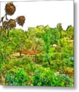Two Thistles In The Garden Of The Simple Metal Print