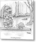 Two Tortoises Speak. One Has A Large Number Metal Print
