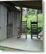 Two Tranquil Rocking Chairs In The Mountains Metal Print