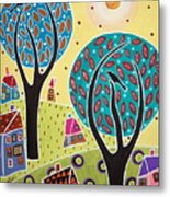Two Trees Two Birds Landscape Metal Print