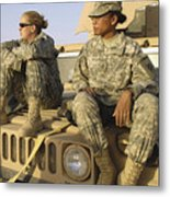 Two U.s. Army Soldiers Relax Prior Metal Print