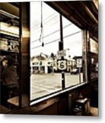 Two Views Inside The Orchid Diner Metal Print