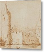 Two Views Of Egmond Castle Metal Print