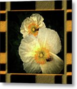 Two Honey Bees Two White Flowers Matted Metal Print