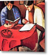 Two Women At The Table By August Macke Metal Print