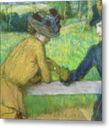 Two Women Leaning On A Gate Metal Print by Edgar Degas