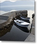Two Wooden Boats In A Little Bay In The Morning Metal Print