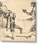 Two Workmen At Tables (recto) Metal Print