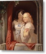 Two Young Ladies At The Window Metal Print