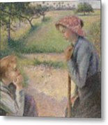 Two Young Peasant Women Metal Print