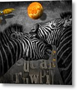 Two Zebras And Macaw Metal Print