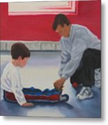 Tying Shoes Metal Print