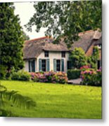 typical dutch county side of houses and gardens, Giethoorn Metal Print