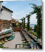 Typical Shop Display Of Ceramics For Sale In Positano, Amalfi Co Metal Print