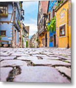 half-timbered houses, Riquewihr, Alsace, France   Metal Print