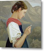 Tyrolean Girl Contemplating A Crucifix Metal Print
